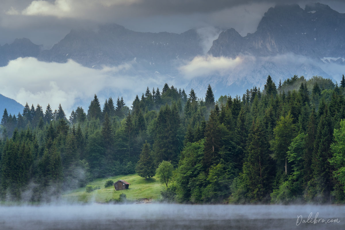Another view of the Geroldsee with an alpine cabin on the opposite side (long lens)