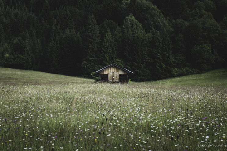 Symmetry of an alpine cabin at Geroldsee in the German Alps