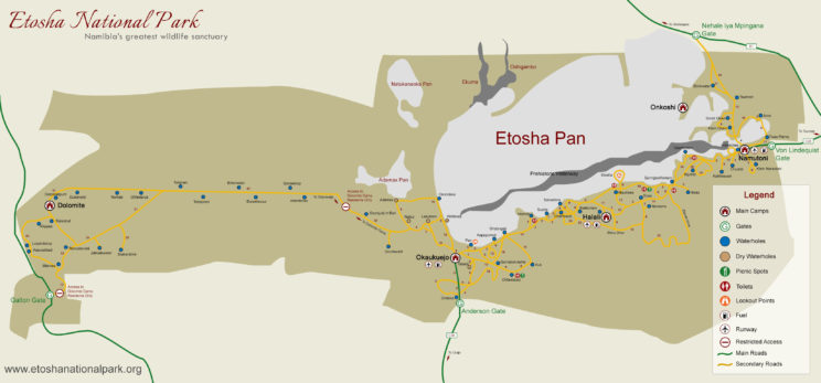 Etosha National park, Namibia - map in full resolution
