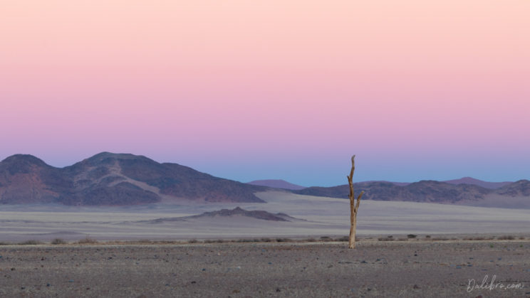 As there was no chance to see sunrise in Sossusvlei, we spent a beautiful morning right in front of Le Mirage