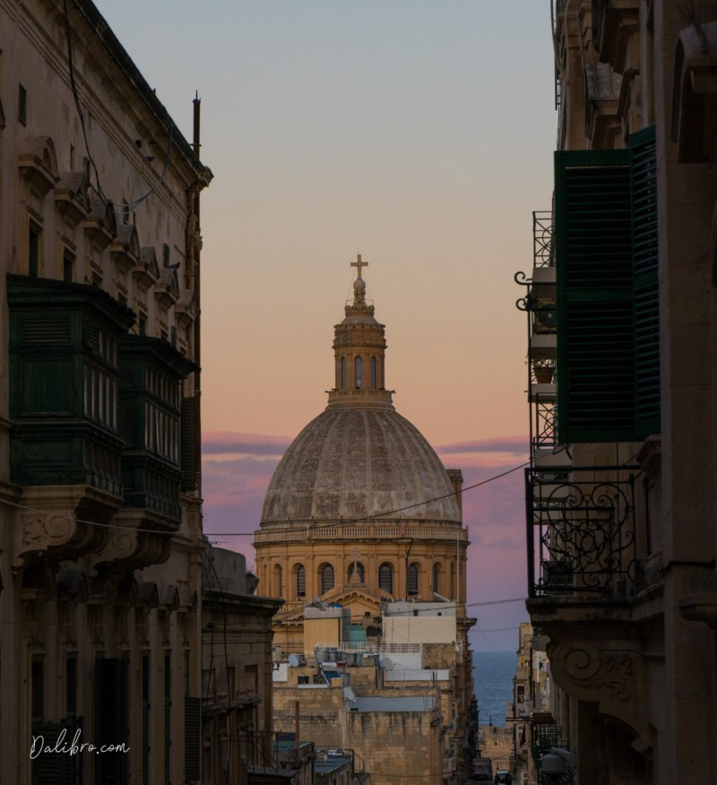 Triq Zekka Street in Valletta, Malta, in the evening - sky bursting with colors! Dalibro.com