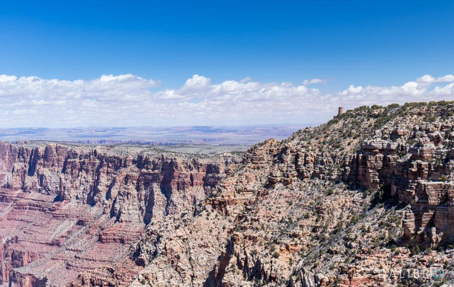 The desert View Watchtower is the end point of the Desert View Drive.
