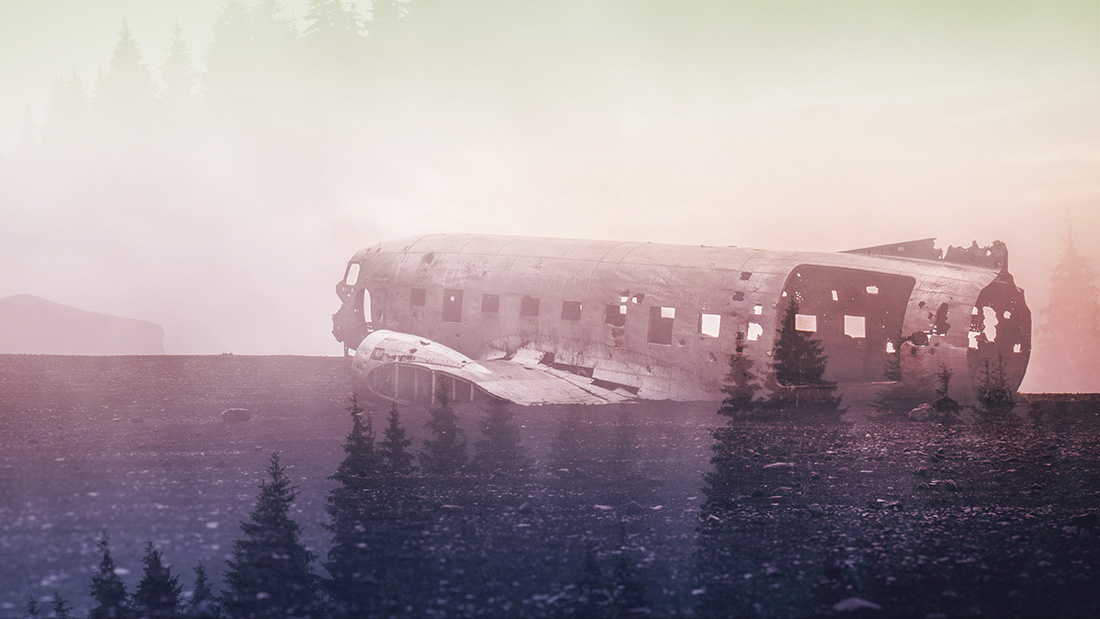 The illusion of a double exposure - Iceland's famous plane wreck combined with a misty forest. I used blending in Photoshop. I also added some fancy colour effects.