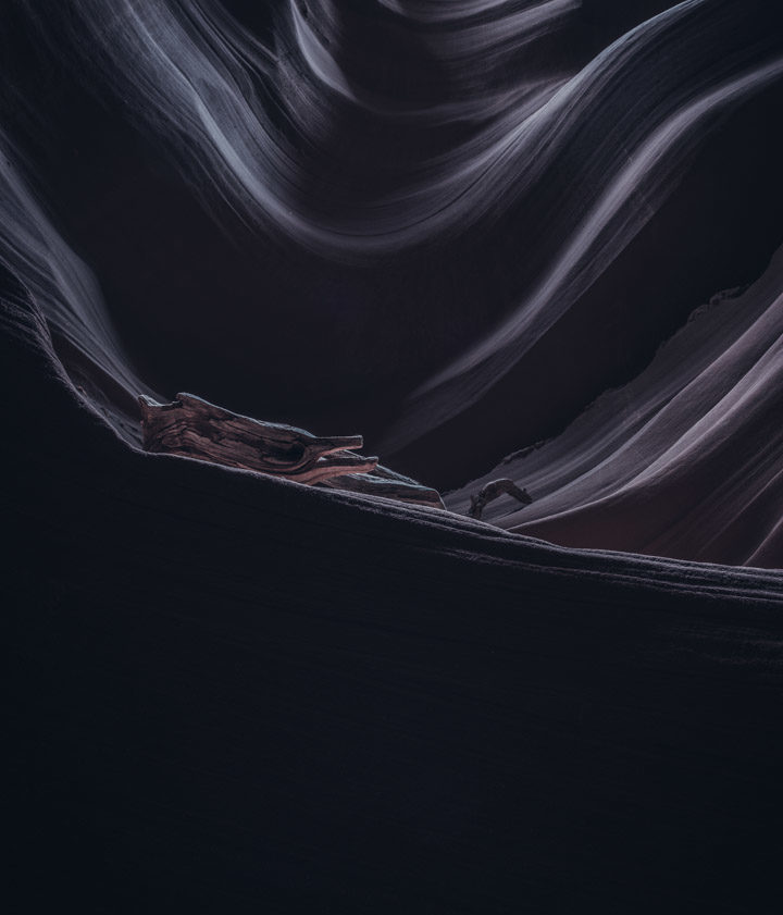 One of my favourite images from one of Arizona's slot canyons. The colouring is a complete fake and I'm happy to admit it. Yes, sandstone is not black. I attempted to reconstruct my impression of the canyon - mysterious, silent and somewhat dark.